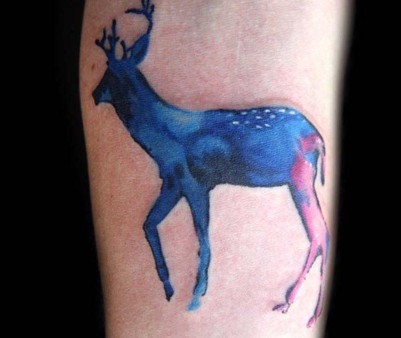 Blue deer tattoo design