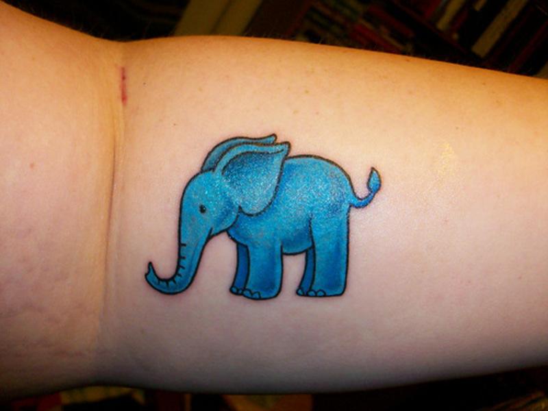Blue elephant tattoo