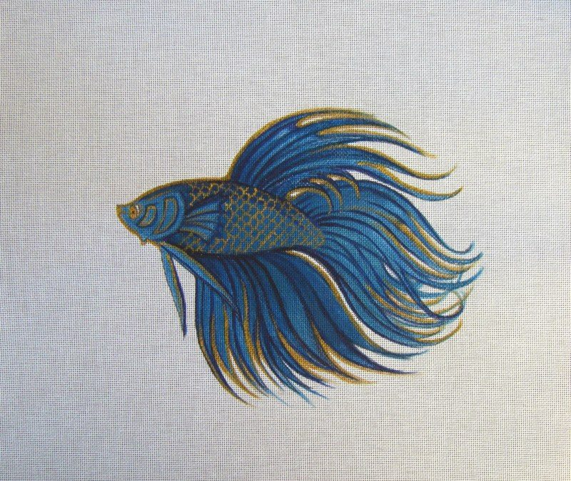 Blue n golden betta fish tattoo design