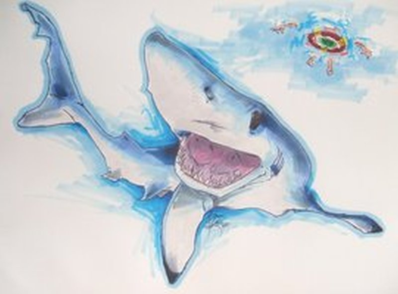 Blue shark aqua tattoo design