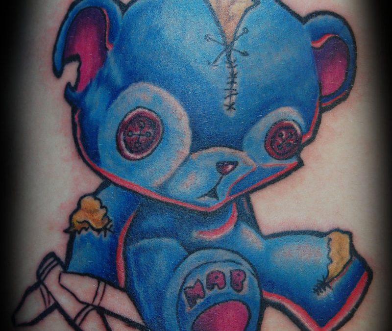 Blue teddy bear tattoo design