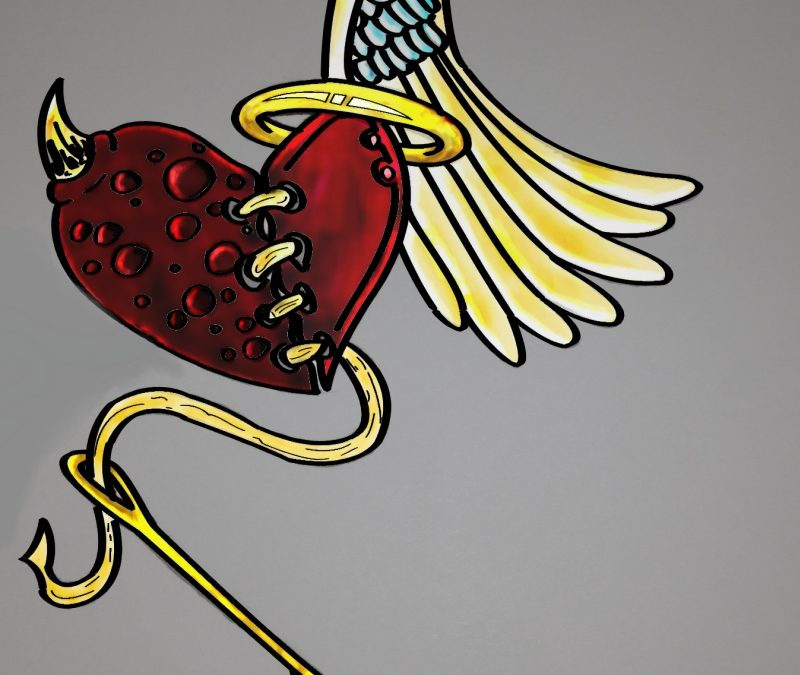 Broken devil heart with wings tattoo design