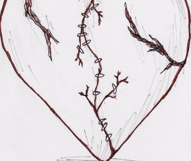 Broken heart tattoo drawing
