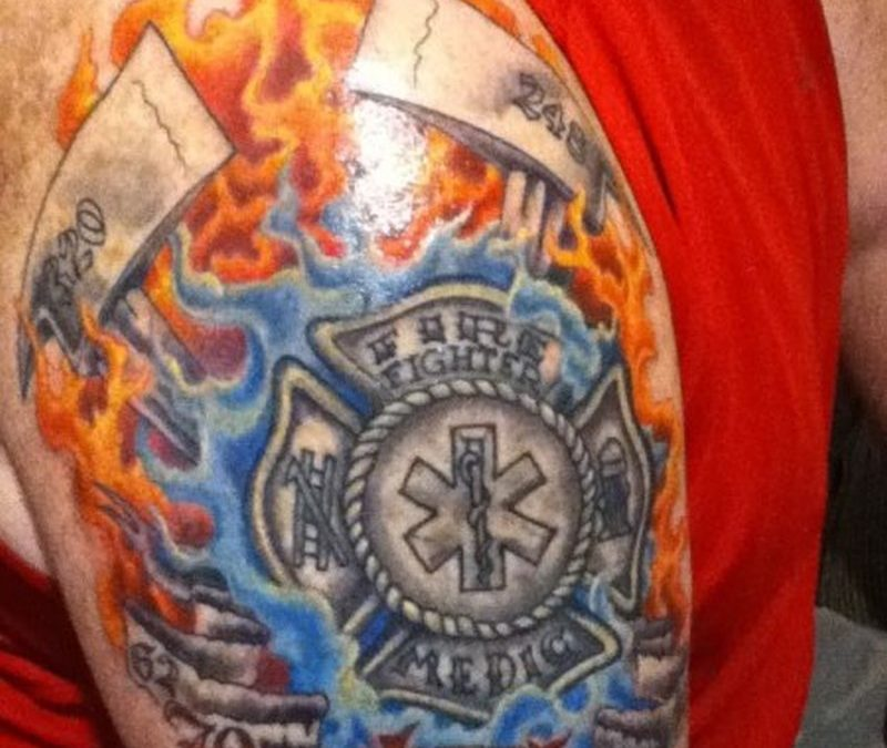 Brotherhood firefighter design tattoo