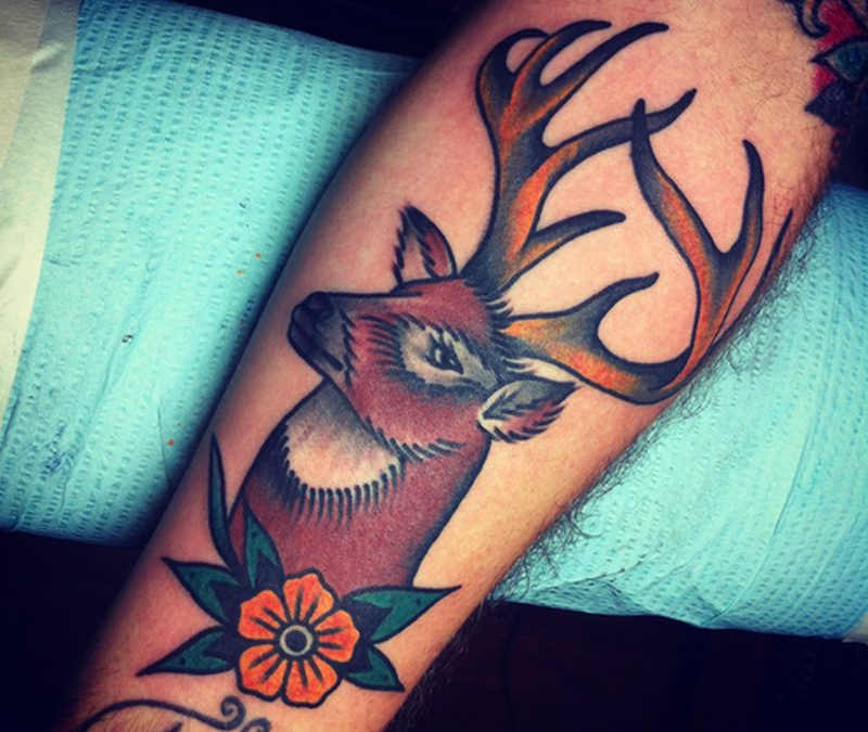 Brown ink deer tattoo design
