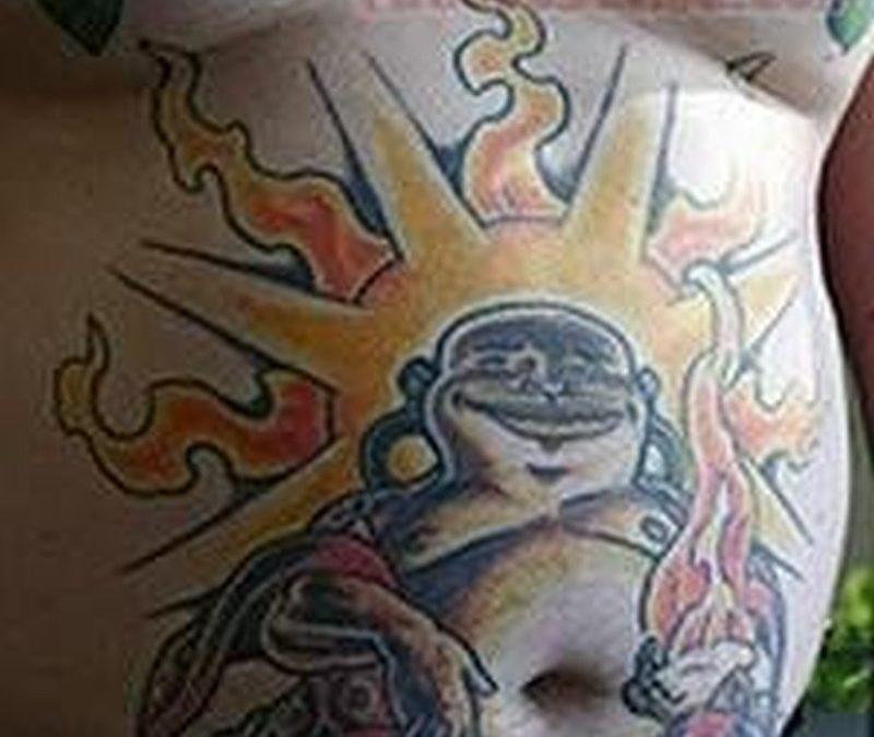 Buddha belly button tattoo
