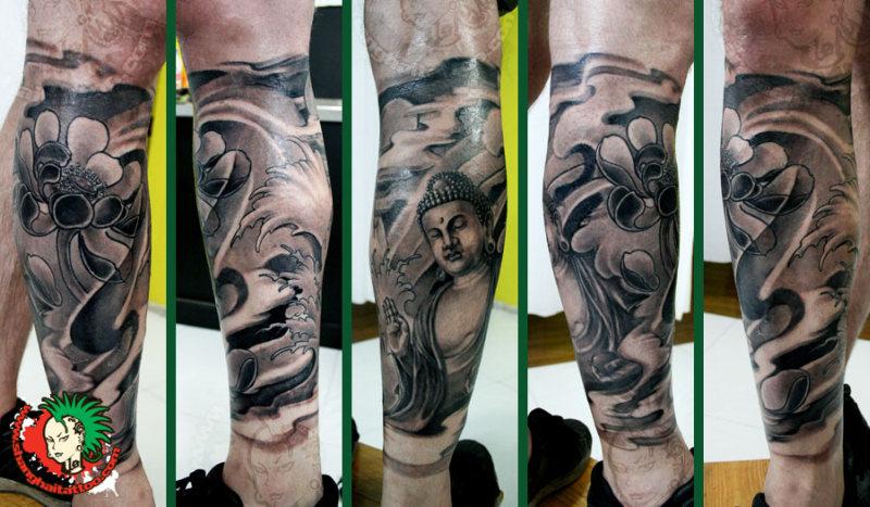 Buddhist half leg sleeve tattoo