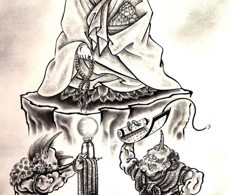 Buddhist religious tattoo design