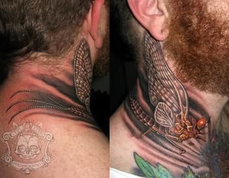 Bug tattoo on neck for men