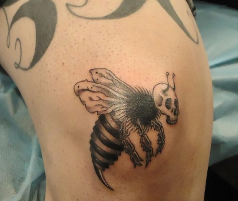 Bumblebee skull skeleton tattoo