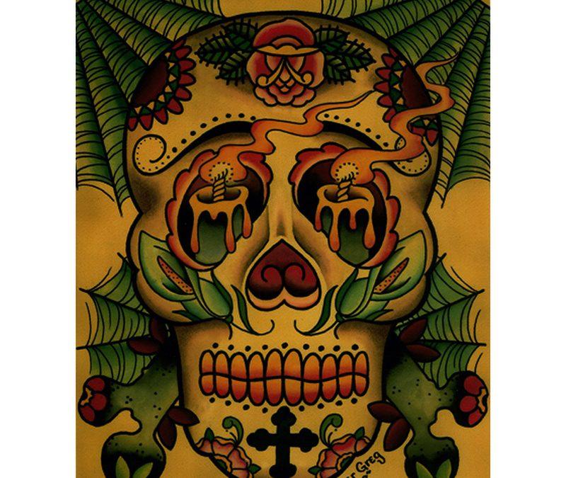 Burning candles in skull eyes tattoo design
