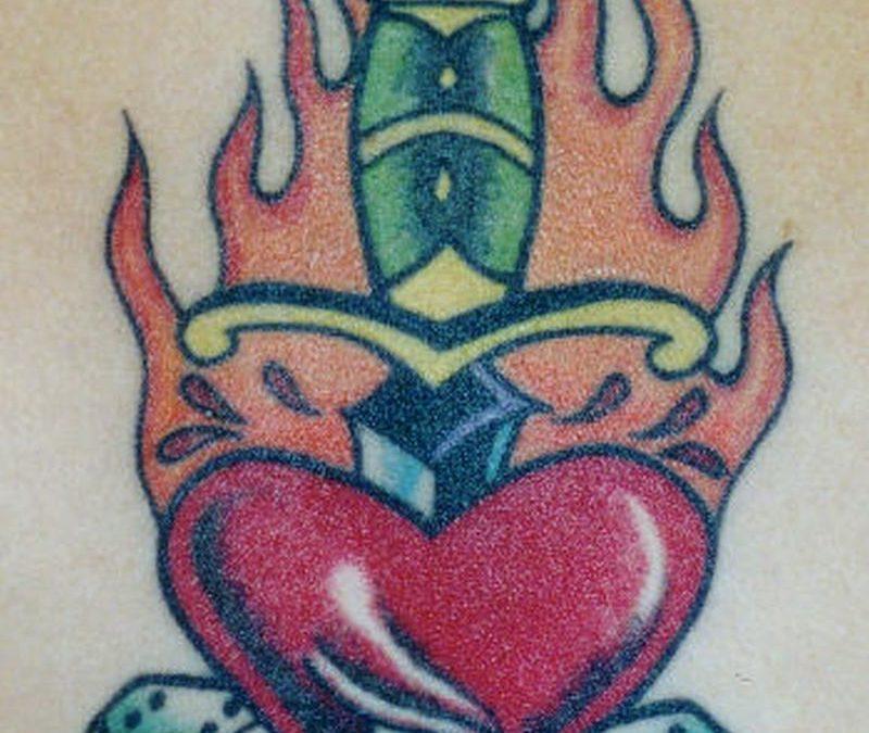 Burning heart dagger n dices tattoo design