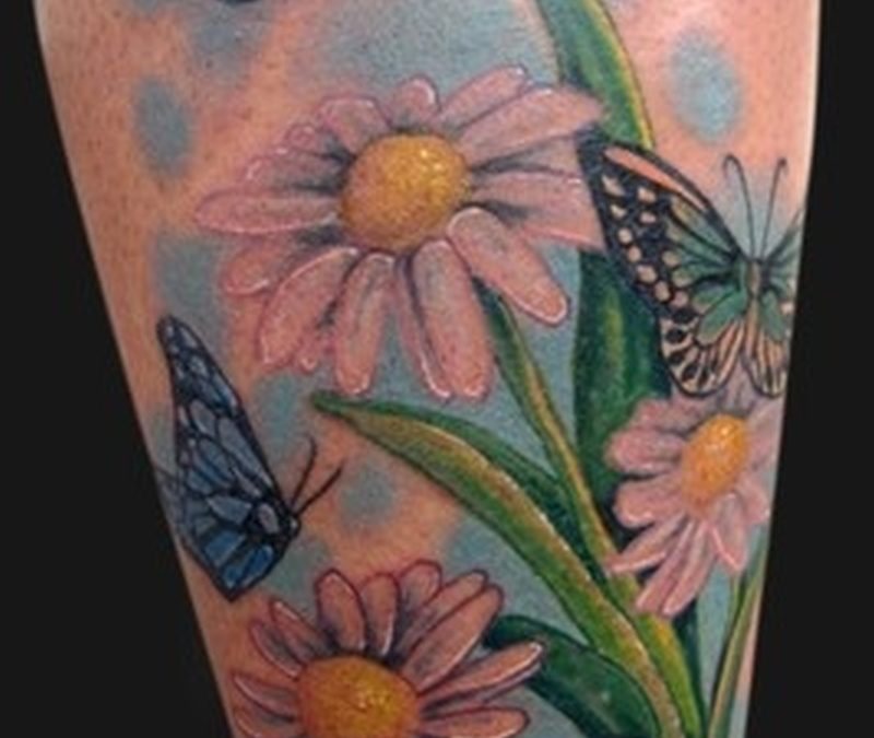 Butterflies flowers with lady bug tattoo design