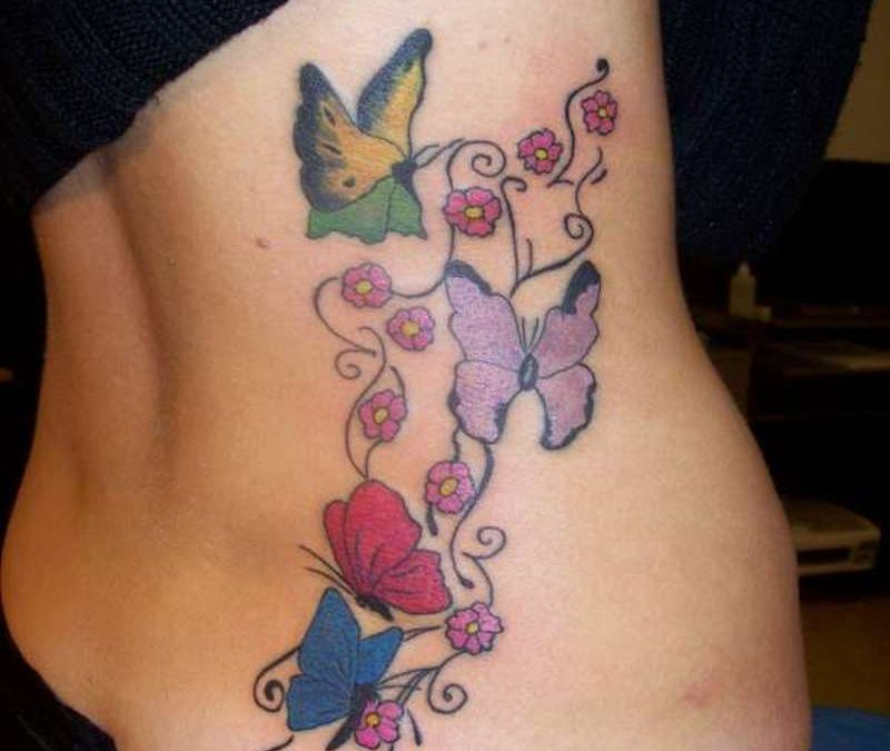 Butterflies tattoo on rib side