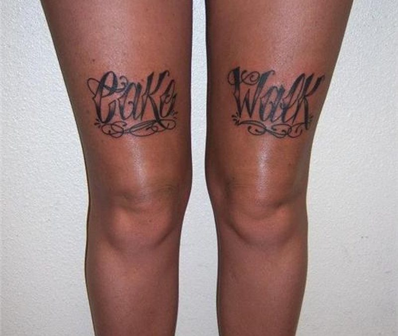 Cake walk tattoo designs on thigh