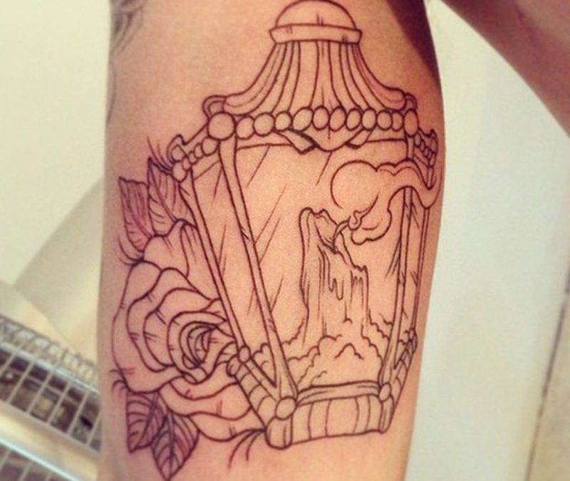 Candle lamp outline tattoo