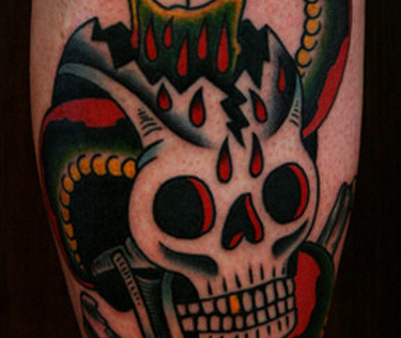 Candle skull snake tattoo design