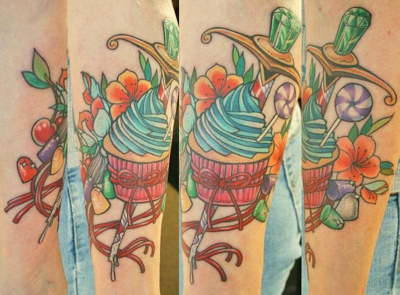 Candy cup cake tattoo design