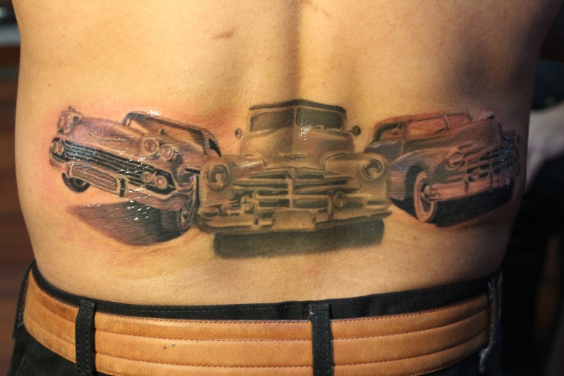 Car tattoo designs on lower back