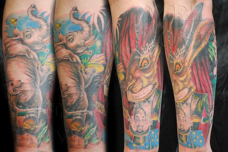 Cartoon animals tattoo design