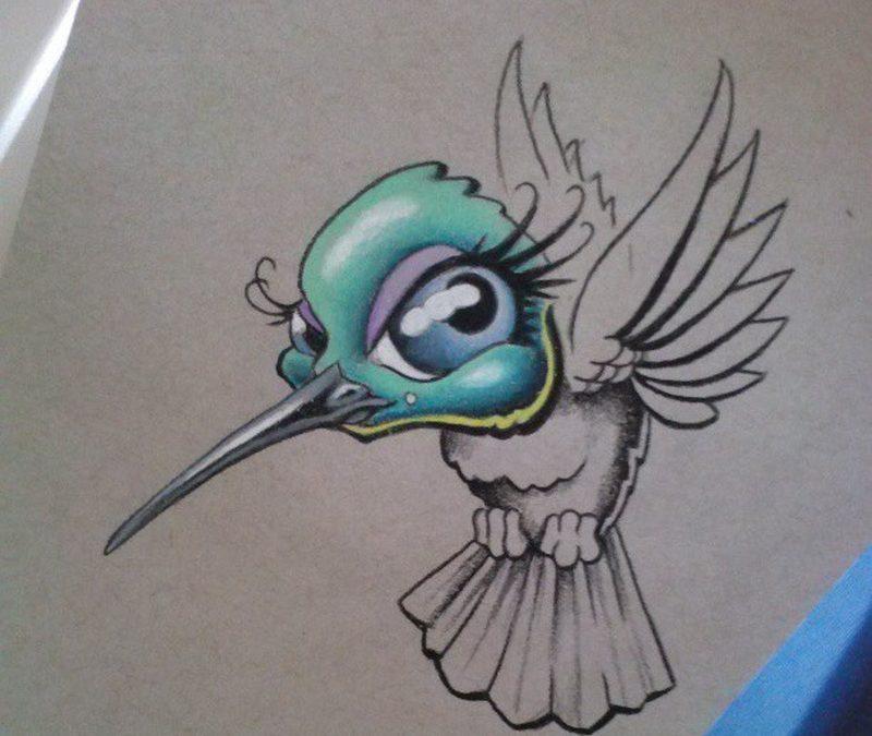 Cartoon hummingbird tattoo design