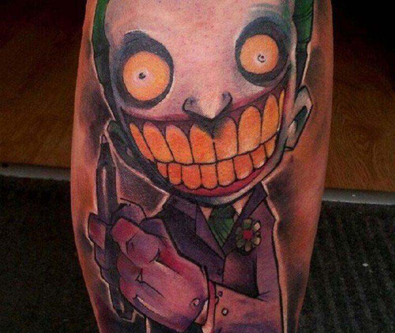 Cartoon joker tattoo design