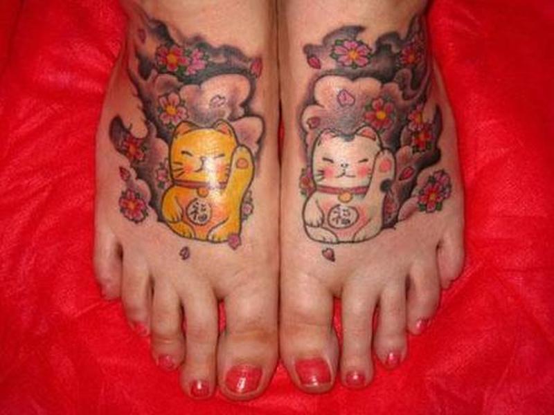 Cat tattoo design on feet