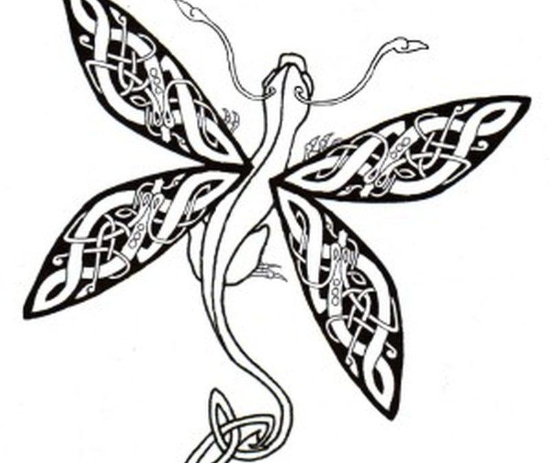 Celtic dragonfly tattoo design
