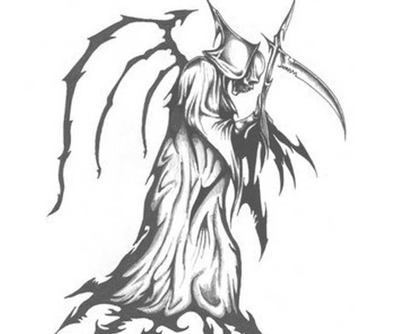 Celtic grim reaper design tattoo