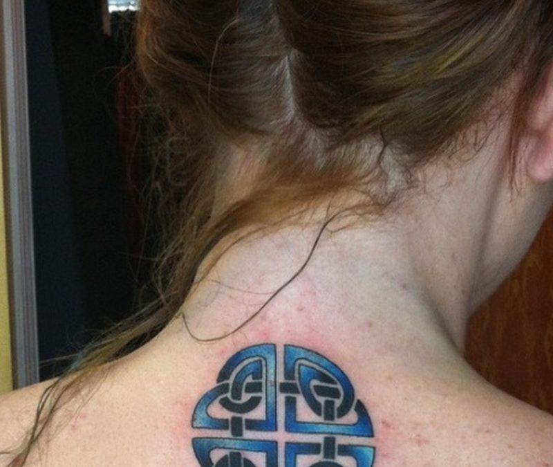 Celtic tattoo behind neck