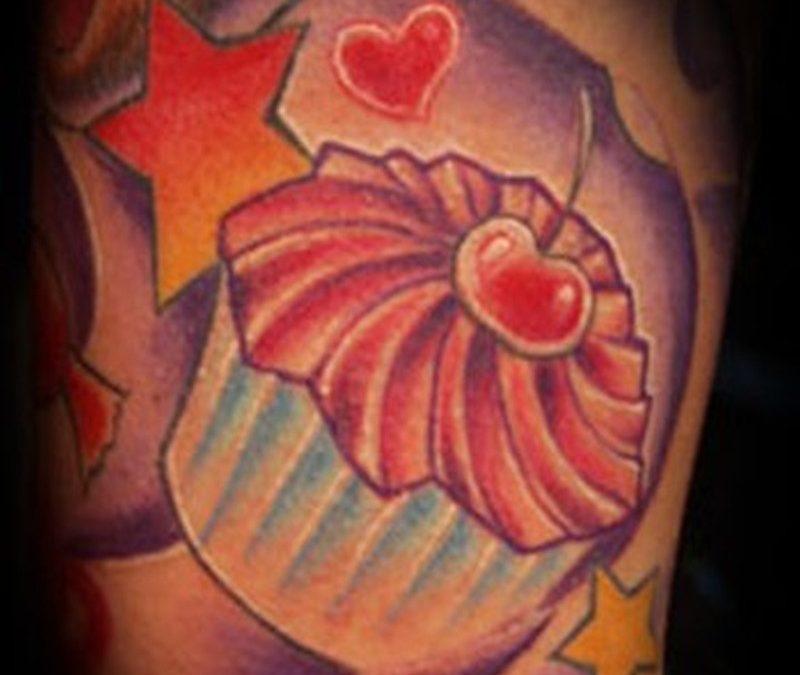 Cherry cake tattoo with star