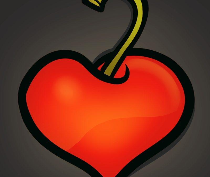 Cherry heart tattoo design