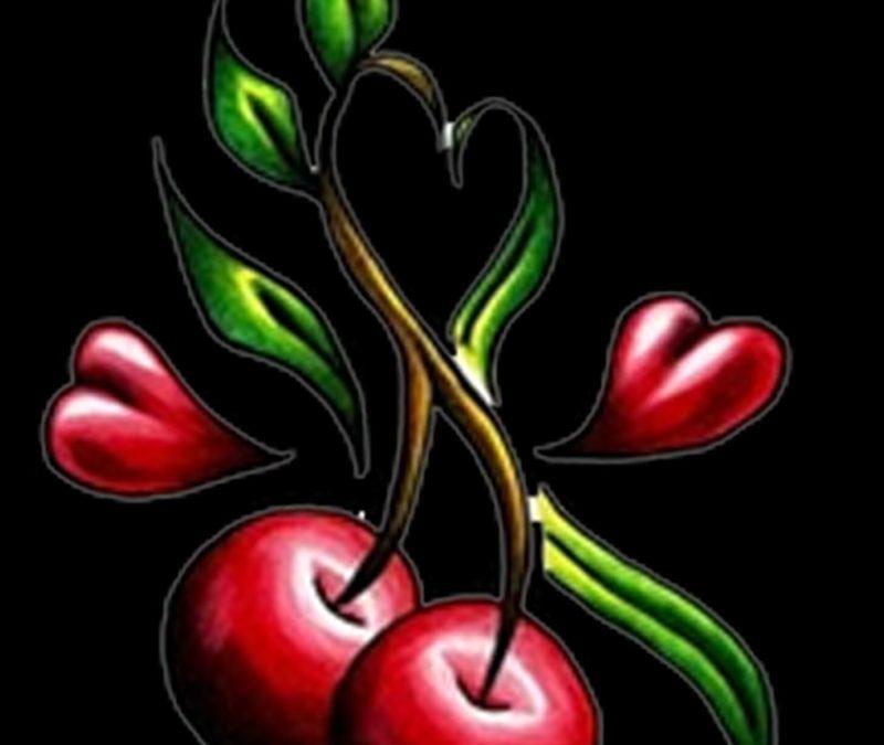 Cherry hearts tattoo design