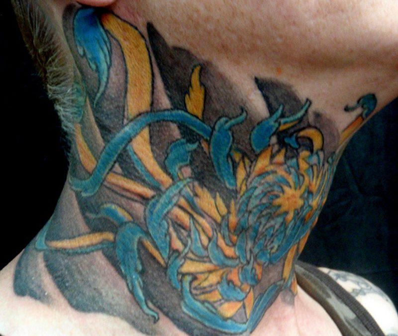 Chrysanthemum tattoo on neck