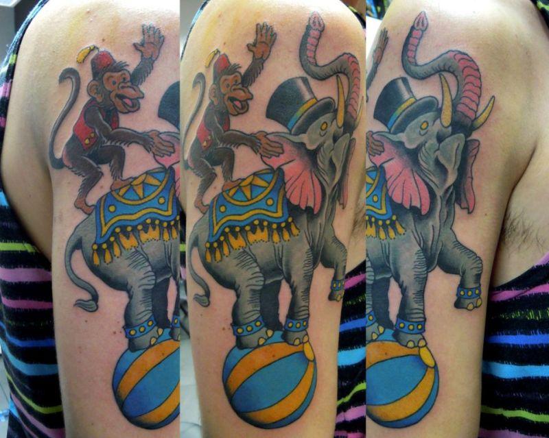Circus elephant n monkey tattoo design
