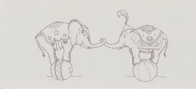 Circus elephant tattoo drawing