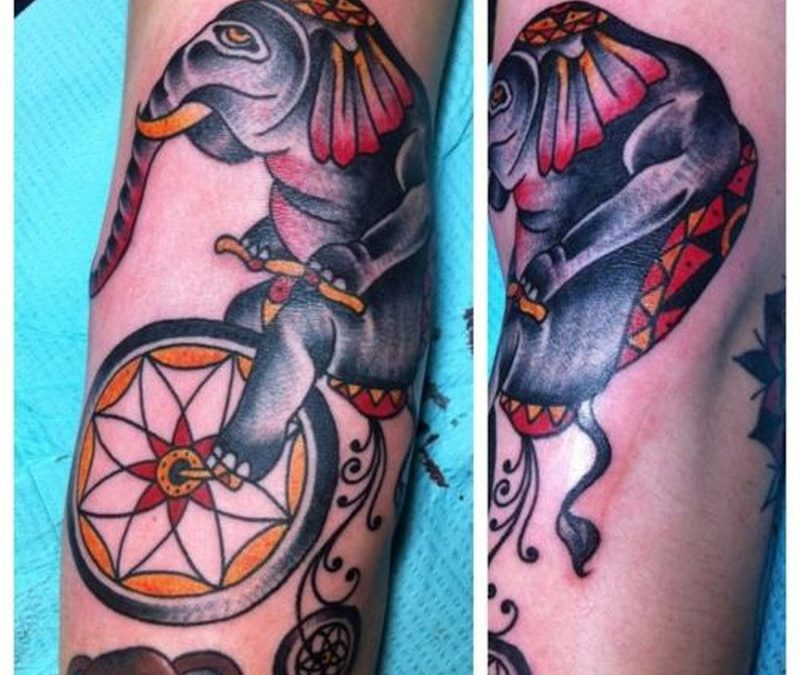 Circus elephant tattoo picture