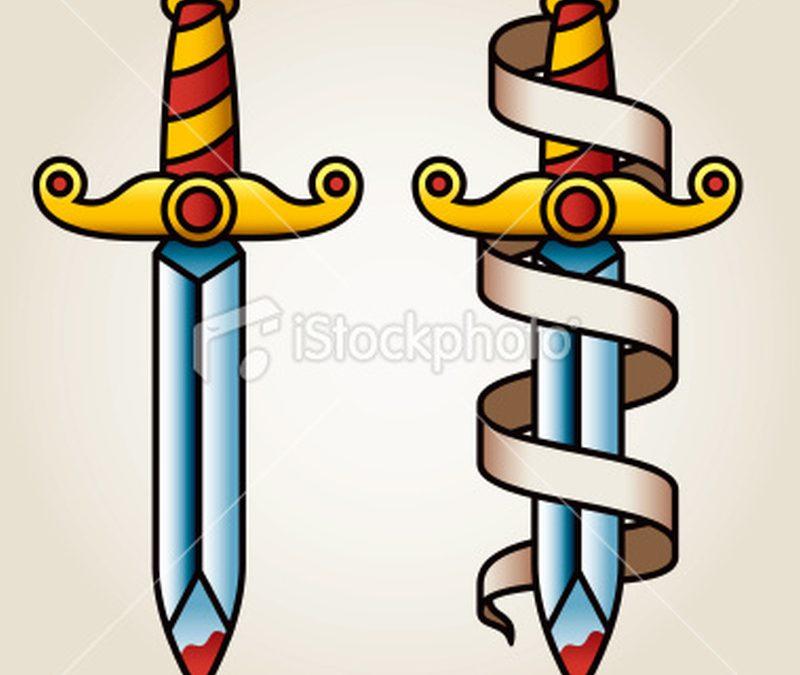 Classic dagger n banner tattoo design