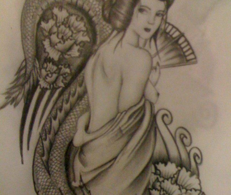 Classic geisha tattoo design