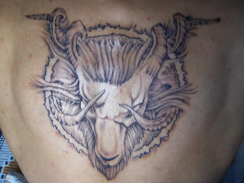Classical aries goat head tattoo design