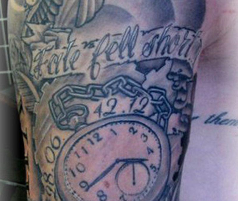 Clock half sleeve tattoo design