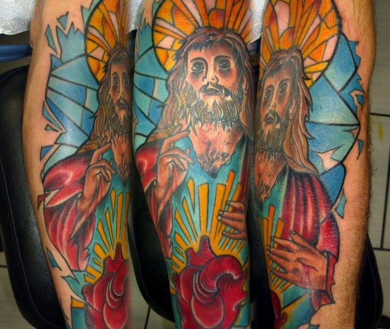 Color ink jesus n heart tattoo design