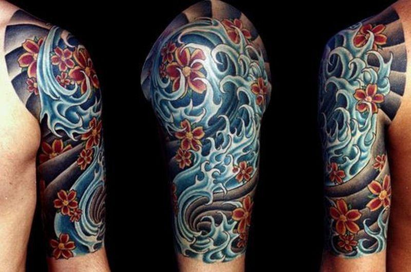 Colored sleeve tattoo