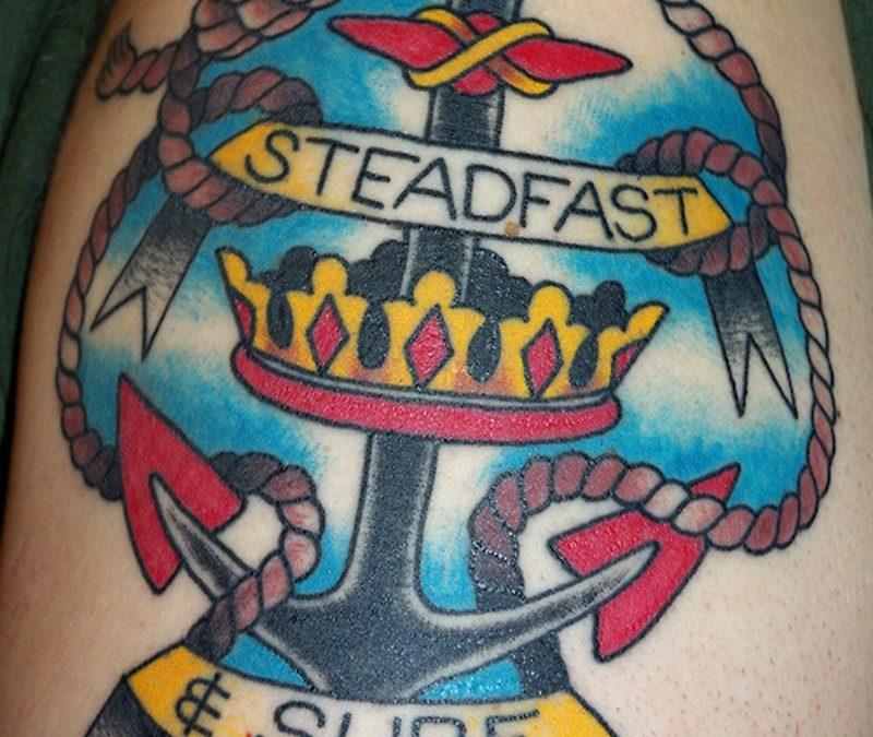 Colorful anchor n crown tattoo design