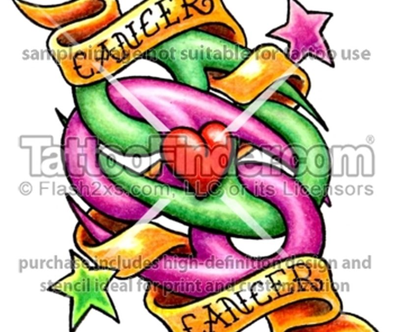 Colorful cancer tattoo design with stars