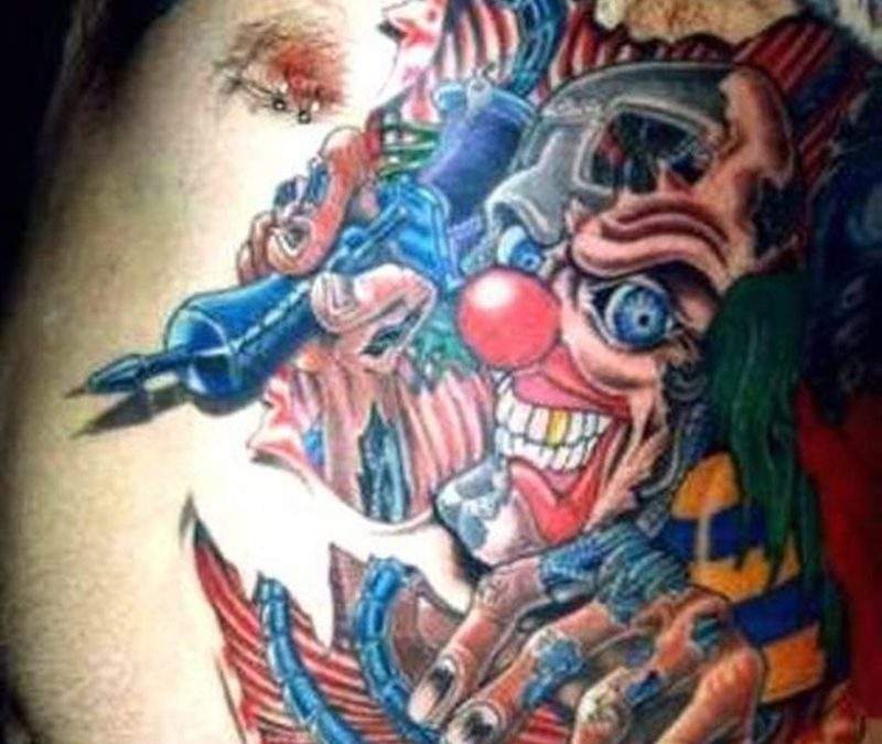 Colorful clown tattoo for men