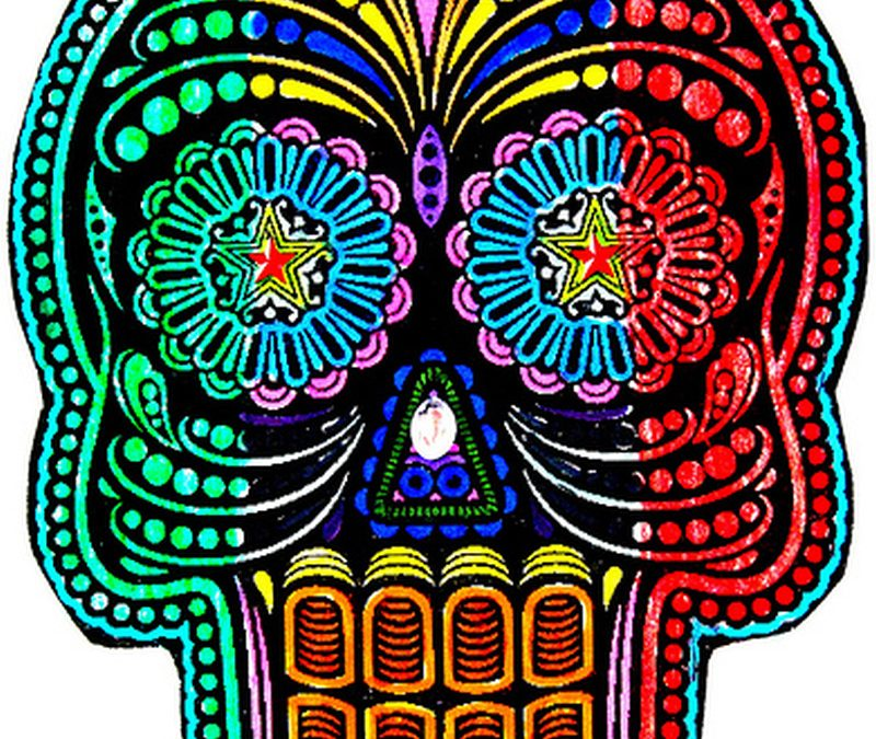 Colorful dia de los muertos skull tattoodesign