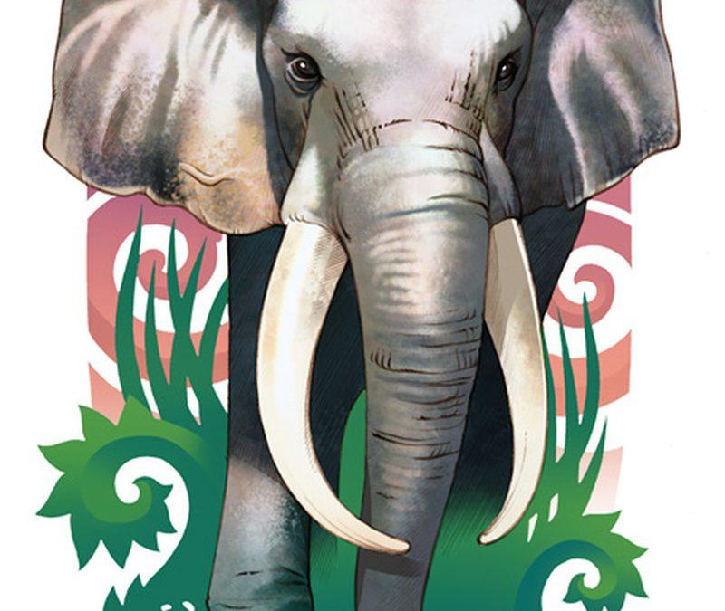 Colorful elephant tattoo design
