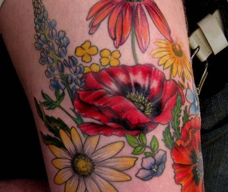 Colorful flowers tattoo design 2
