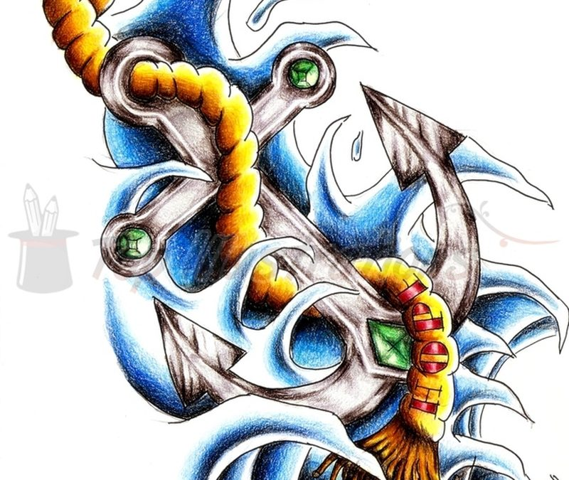 Colorful hope anchor symbol with rope tattoo